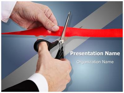 Ribbon Cutting Inauguration Editable PowerPoint Template