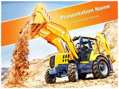 Wheel Loader Excavator Editable PowerPoint Template