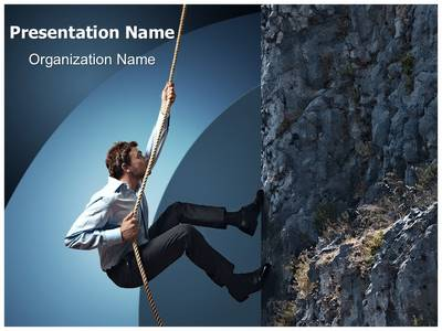 Climbing Businessman Editable PowerPoint Template