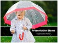 Child In Rain Editable PowerPoint Template