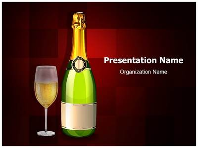Glass and Champagne bottle Editable PowerPoint Template