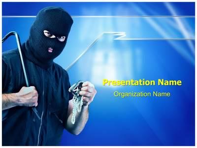 Thief Burglar Stealing Editable PowerPoint Template