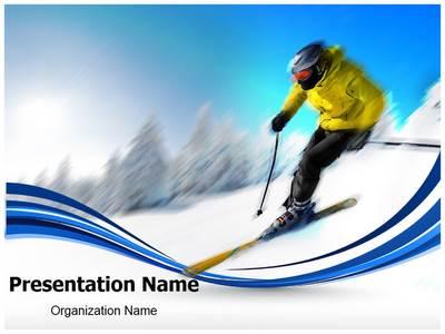 Skier Editable PowerPoint Template