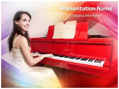 Lady On Piano Editable PowerPoint Template