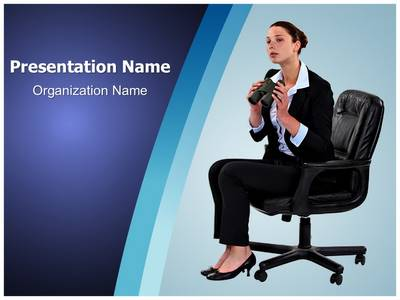 Businesswoman Looking Future Editable PowerPoint Template
