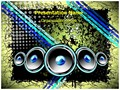 Disco Speakers Background Editable PowerPoint Template