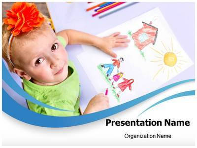 Children Drawings Editable PowerPoint Template