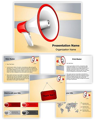 Advertisement Broadcasting Megaphone Editable PowerPoint Template