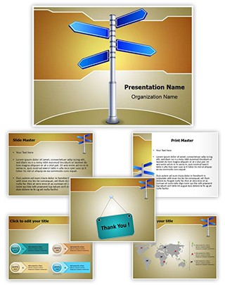 Crossroads Road Sign Editable PowerPoint Template