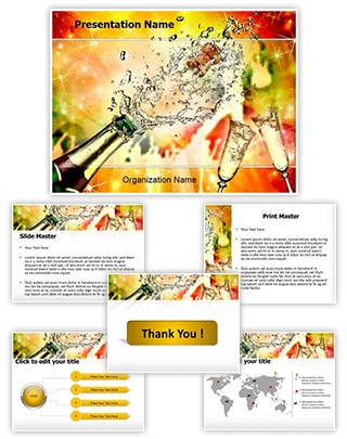 Champagne Explosion Editable PowerPoint Template