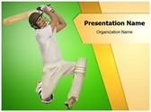 Cricket Bats Man Editable PowerPoint Template