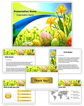 Easter Eggs Flowers Editable PowerPoint Template