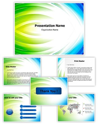 Blue With Green Abstract Editable PowerPoint Template