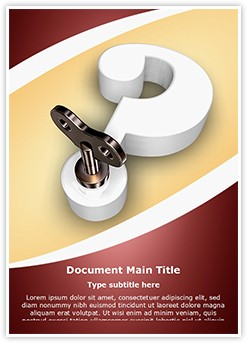 3D question mark key Editable Word Template