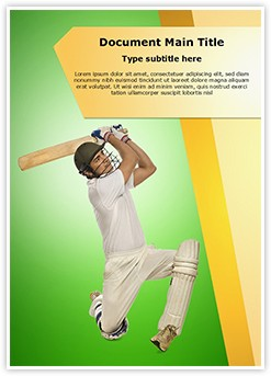 Cricket Bats Man Editable Word Template