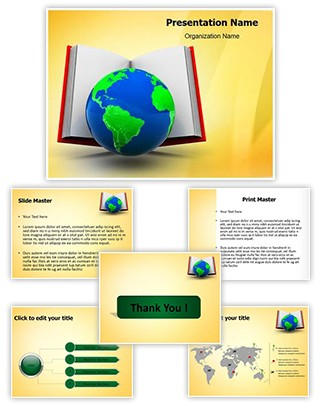 Open Book And Globe Editable PowerPoint Template