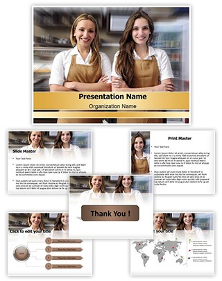 Cafe Waitresses Editable PowerPoint Template