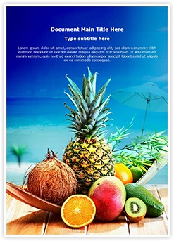 Fresh Fruits and Beach Editable Word Template