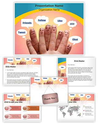 Communication Social Network Editable PowerPoint Template