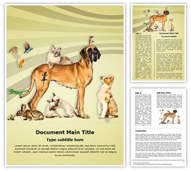 Animals Pets Editable Word Document Template
