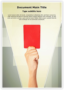 Referee Penalty Red Card Editable Word Template