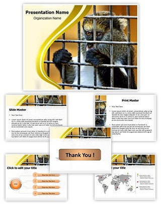 Monkey in Cage Editable PowerPoint Template