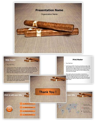 Smoking Cigars Editable PowerPoint Template