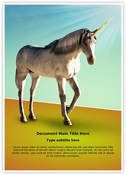Unicorn White Horse Editable Word Template
