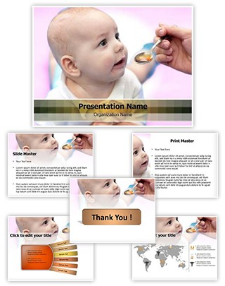 Baby Taking Medicine Editable PowerPoint Template