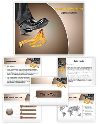 Foot on banana peel Editable PowerPoint Template