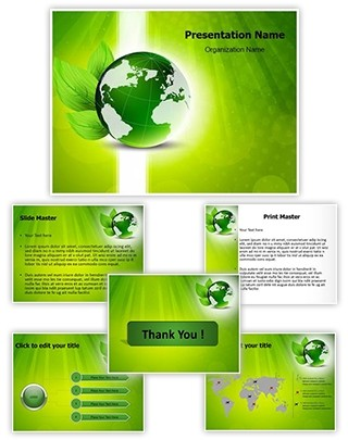Green globe Editable PowerPoint Template