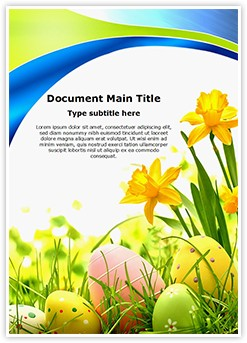 Easter Eggs Flowers Editable Word Template
