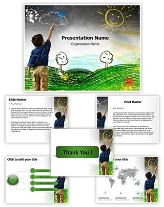 Child Drawing Editable PowerPoint Template