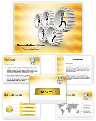 3D Gear Team Editable PowerPoint Template