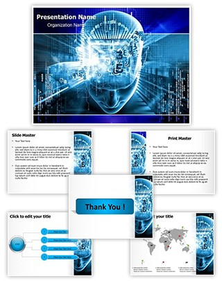 Digital Brain Editable PowerPoint Template