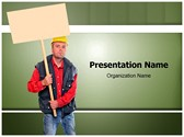 Protesting Worker Editable PowerPoint Template
