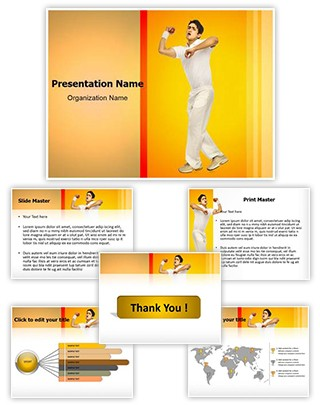 Cricket Bowler Editable PowerPoint Template