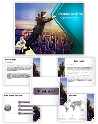 Businessman Suicide Jumping Editable PowerPoint Template