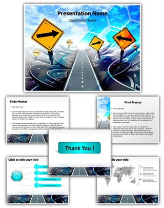Labyrinth Of Roads Editable PowerPoint Template