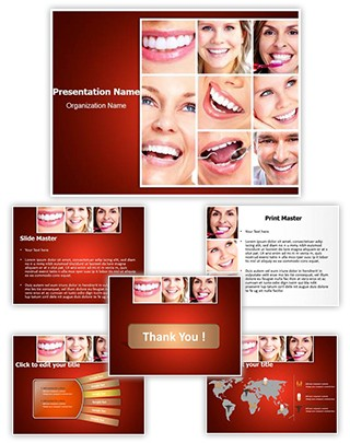 Dentistry Smiling Collage Editable PowerPoint Template