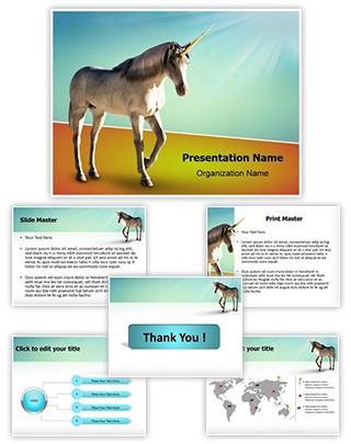 Unicorn White Horse Editable PowerPoint Template