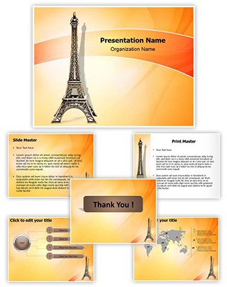 Eiffel Tower Statue Editable PowerPoint Template