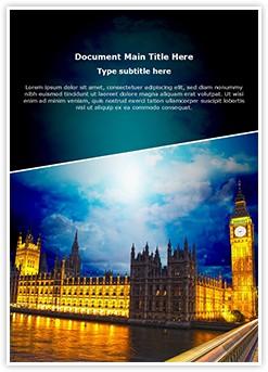 London Parliament Big Ben Editable Word Template