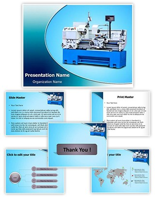 Metalworking Lathe Machine Editable PowerPoint Template