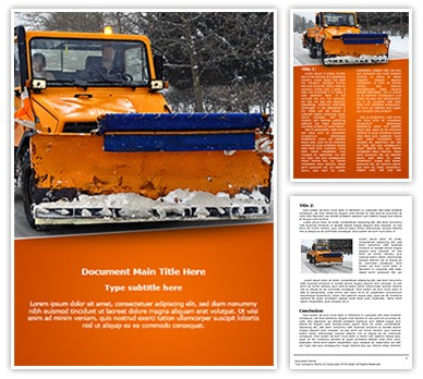 Snow Plow Truck Editable Word Document Template