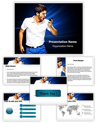 Angry Man on Phone Editable PowerPoint Template