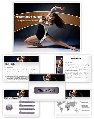 Female Jazz Dancer Editable PowerPoint Template