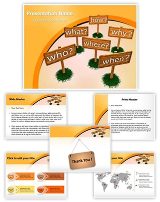 Five Ws Boards Editable PowerPoint Template