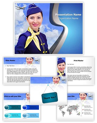 Stewardess Editable PowerPoint Template