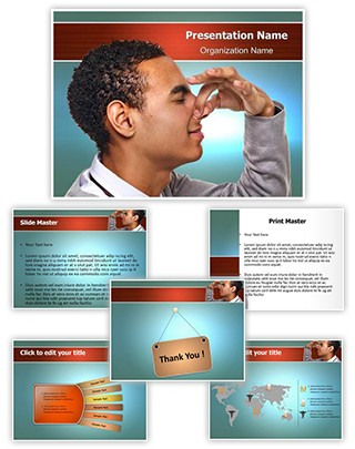 Pinching Nose Editable PowerPoint Template